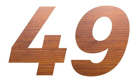 Number 49 with brown wooden texture on white background.