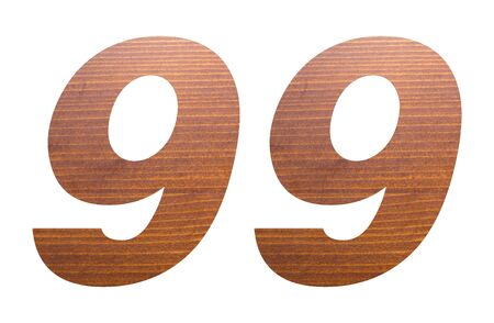 Number 99 with brown wooden texture on white background.