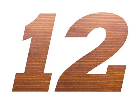 Number 12 with brown wooden texture on white background. 版權商用圖片