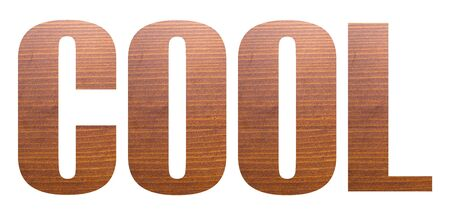 COOL word with brown wooden texture on white background.