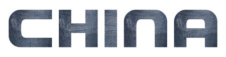 CHINA with jeans fabric texture on white background. 写真素材