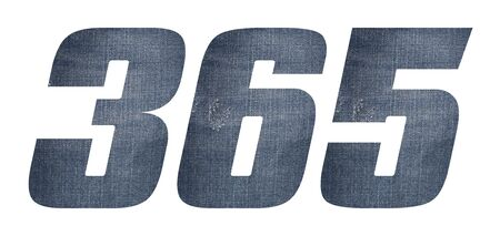 Number 365 with jeans fabric texture on white background.
