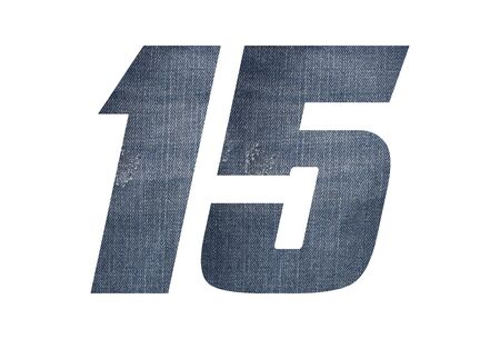Number 15 with jeans fabric texture on white background.