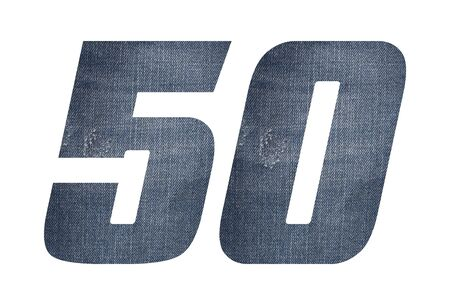 Number 50 with jeans fabric texture on white background. 写真素材
