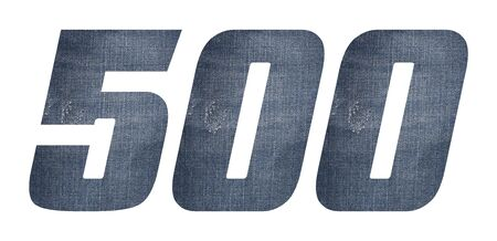 Number 500 with jeans fabric texture on white background. 写真素材