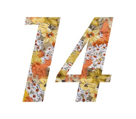 Number 14 with flowered fabric texture on white background.