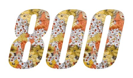 Number 800 with flowered fabric texture on white background. Archivio Fotografico