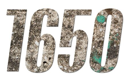 Number 1650 with old concrete wall on white background Stockfoto