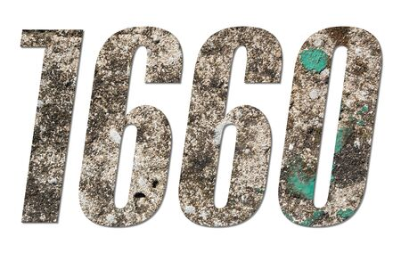 Number 1660 with old concrete wall on white background