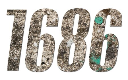 Number 1686 with old concrete wall on white background