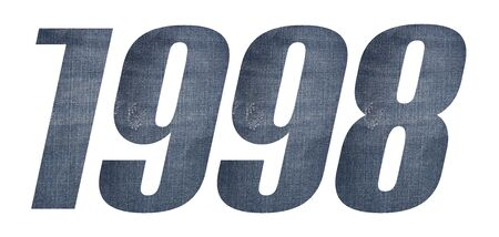 1998 with jeans fabric texture on white background. 写真素材
