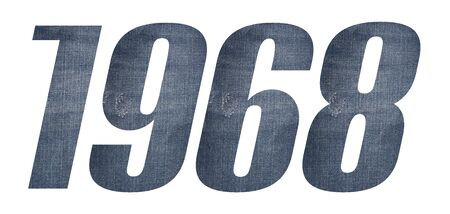 1968 with jeans fabric texture on white background.