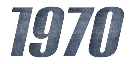 1970 with jeans fabric texture on white background.
