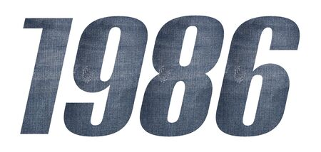 1986 with jeans fabric texture on white background.