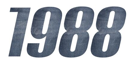 1988 with jeans fabric texture on white background.