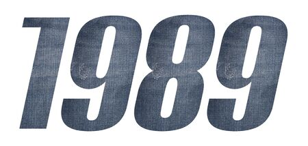 1989 with jeans fabric texture on white background.