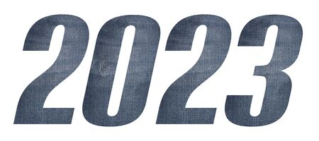 2023 with jeans fabric texture on white background.