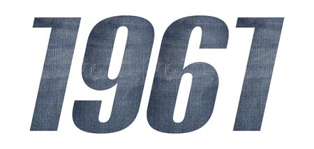 1961 with jeans fabric texture on white background.