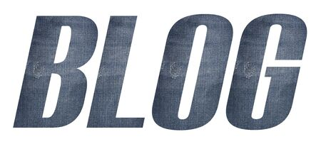 BLOG word with jeans fabric texture on white background.