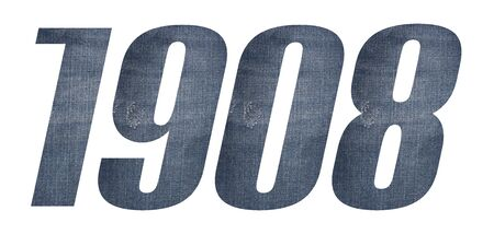 1908 with jeans fabric texture on white background.