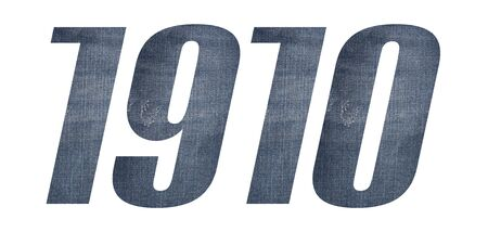1910 with jeans fabric texture on white background.