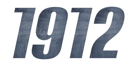1912 with jeans fabric texture on white background.