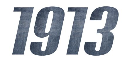 1913 with jeans fabric texture on white background.