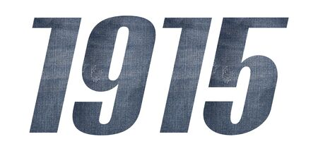 1915 with jeans fabric texture on white background. Stockfoto