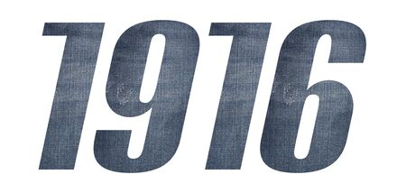 1916 with jeans fabric texture on white background. Stockfoto