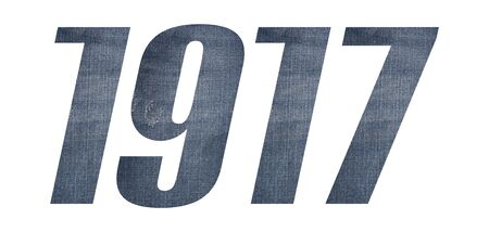 1917 with jeans fabric texture on white background.