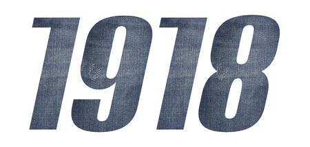 1918 with jeans fabric texture on white background.