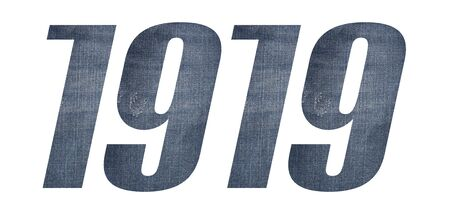 1919 with jeans fabric texture on white background.