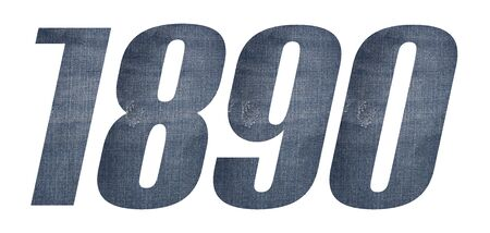1890 with jeans fabric texture on white background.