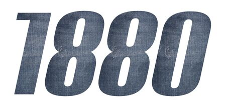 1880 with jeans fabric texture on white background. Stockfoto