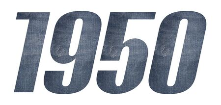 1950 with jeans fabric texture on white background. 스톡 콘텐츠
