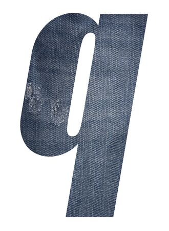 Letter q with jeans fabric texture on white background. 写真素材