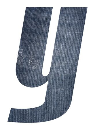 Letter y with jeans fabric texture on white background. Stockfoto