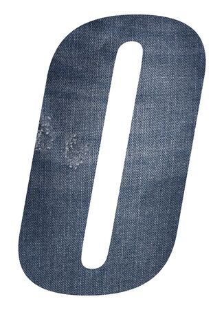 Number 0,zero with jeans fabric texture on white background. Stockfoto