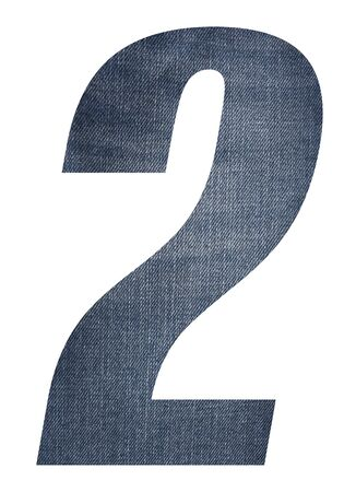 Number 2 with jeans fabric texture on white background. Stockfoto
