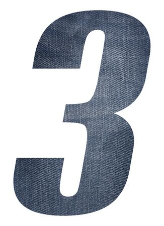 Number 3 with jeans fabric texture on white background.