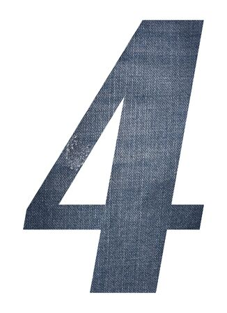 Number 4 with jeans fabric texture on white background. Stockfoto