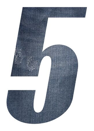 Number 5 with jeans fabric texture on white background.