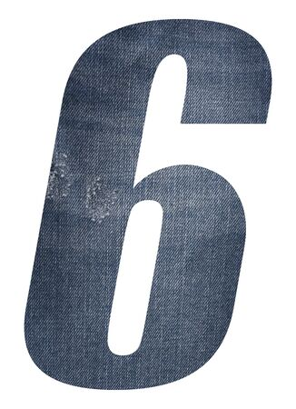Number 6 with jeans fabric texture on white background. Stockfoto
