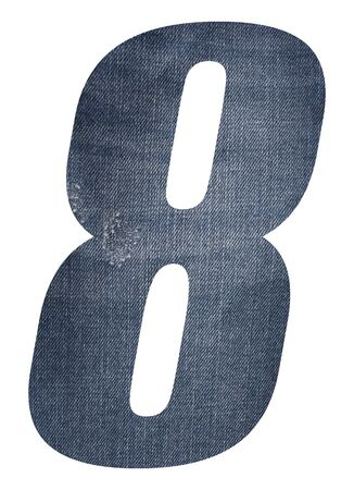 Number 8 with jeans fabric texture on white background. Stockfoto