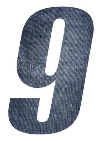 Number 9 with jeans fabric texture on white background.