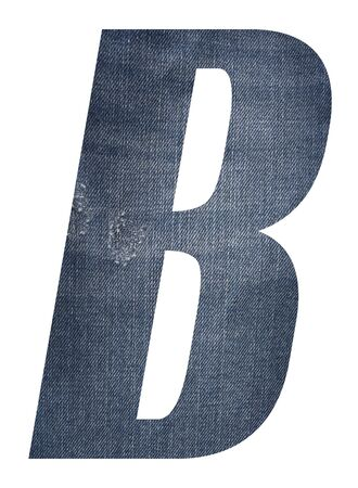 Letter B with jeans fabric texture on white background.