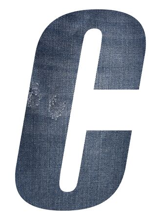 Letter C with jeans fabric texture on white background. 写真素材