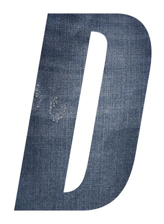 Letter D with jeans fabric texture on white background. Stockfoto