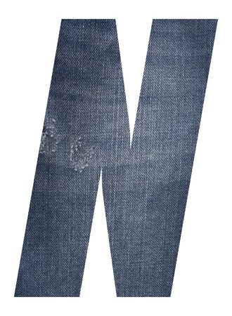Letter N with jeans fabric texture on white background.