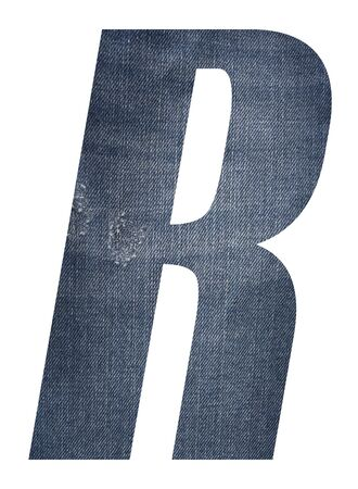 Letter R with jeans fabric texture on white background.